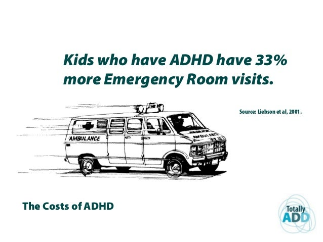 The Costs of ADHD Kids who have ADHD have 33% more Emergency Room visits. Source: Liebson et al, 2001.