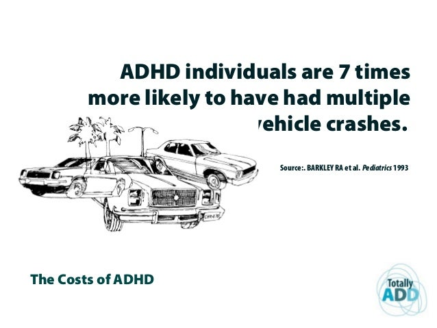 The Costs of ADHD ADHD individuals are 7 times more likely to have had multiple vehicle crashes. Source:. BARKLEY RA et al...