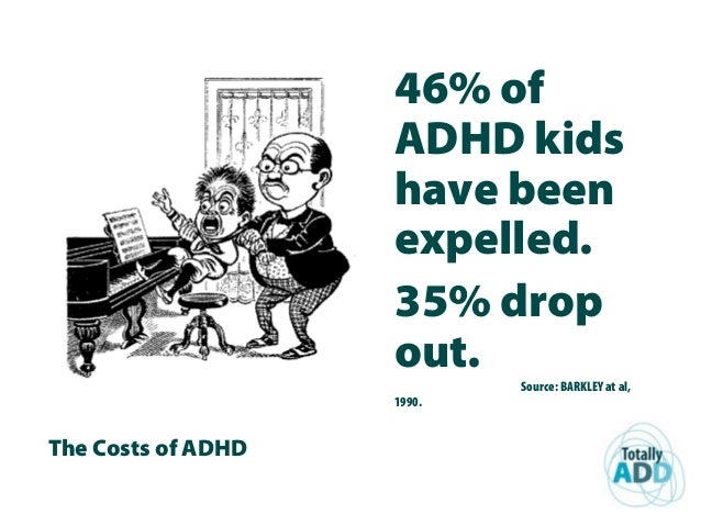 The Costs of ADHD 46% of ADHD kids have been expelled. 35% drop out. Source: BARKLEY at al, 1990.