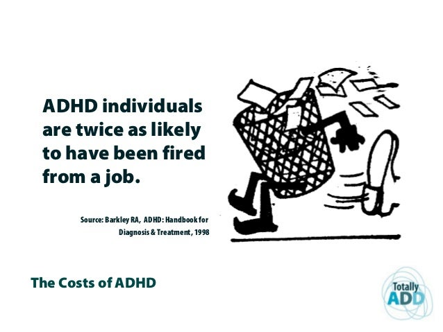 The Costs of ADHD ADHD individuals are twice as likely to have been fired from a job. Source: Barkley RA, ADHD: Handbook f...