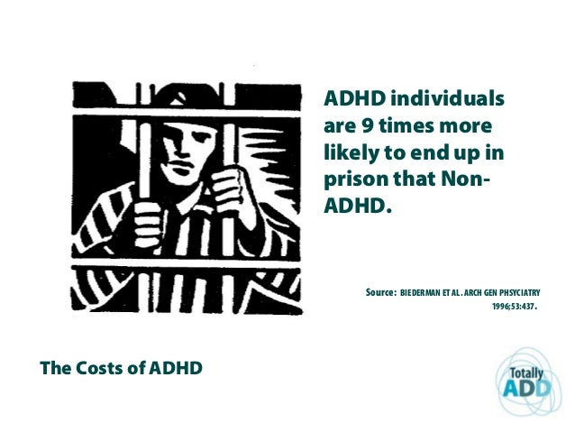 The Costs of ADHD ADHD individuals are 9 times more likely to end up in prison that Non- ADHD. Source: BIEDERMAN ET AL. AR...