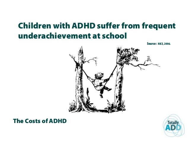 The Costs of ADHD Children with ADHD suffer from frequent underachievement at school Source: NICE, 2006.