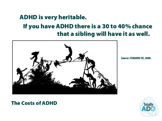 The Costs of ADHD ADHD is very heritable. If you have ADHD there is a 30 to 40% chance that a sibling will have it as well...