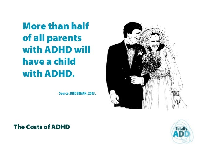 The Costs of ADHD More than half of all parents with ADHD will have a child with ADHD. Source: BIEDERMAN, 2003.