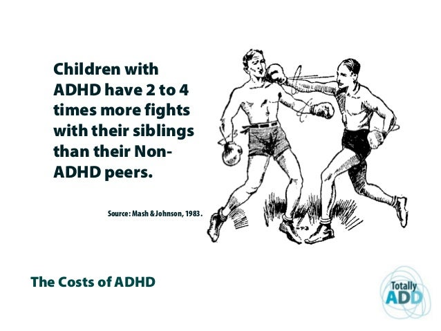 The Costs of ADHD Children with ADHD have 2 to 4 times more fights with their siblings than their Non- ADHD peers. Source:...