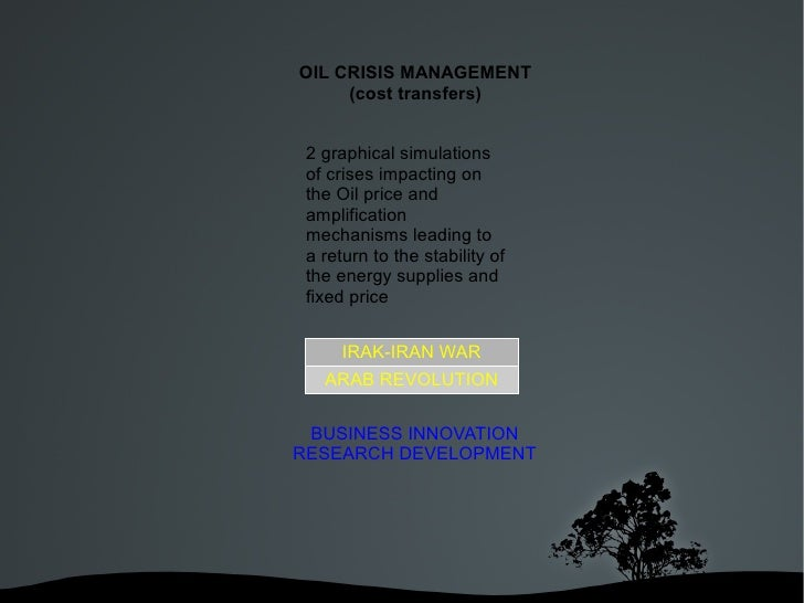 OIL CRISIS MANAGEMENT         (cost transfers)     2 graphical simulations     of crises impacting on     the Oil price an...