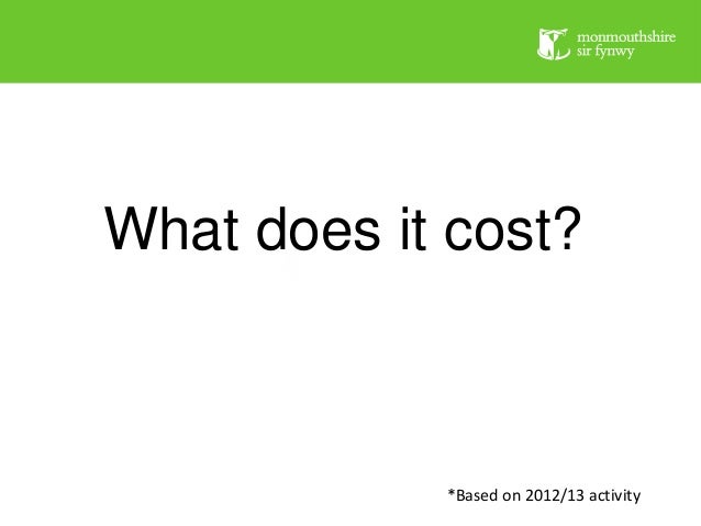 What does it cost?  *Based on 2012/13 activity