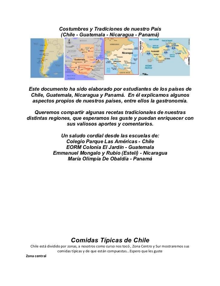 Costumbres y Tradiciones de nuestro País                     (Chile - Guatemala - Nicaragua - Panamá) Este documento ha si...