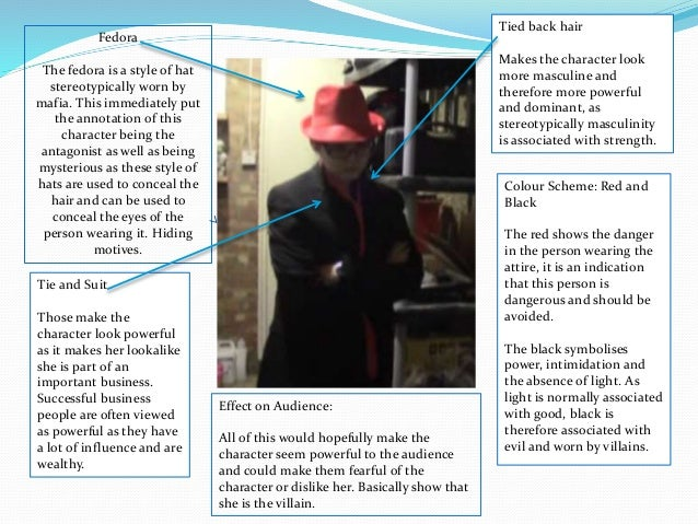 Fedora The fedora is a style of hat stereotypically worn by mafia. This immediately put the annotation of this character b...