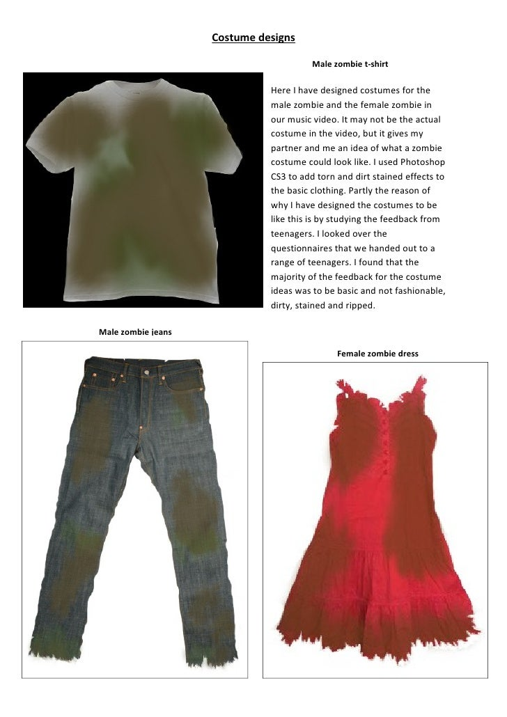 Costume designs                                          Male zombie t-shirt                                Here I have de...