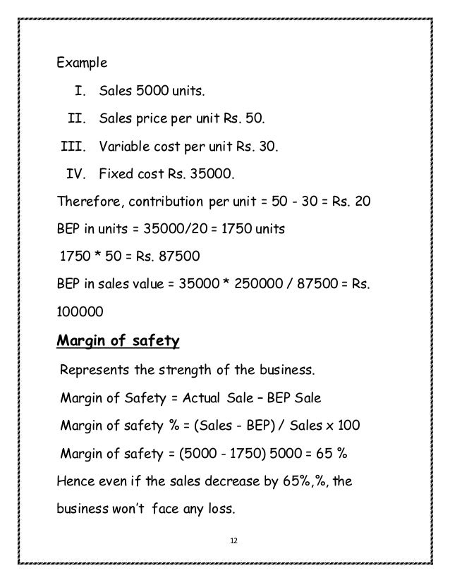 Notes on Cost volume profit analysis