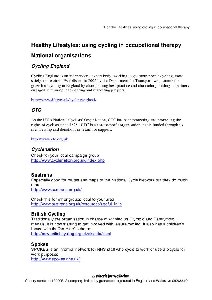 Healthy Lifestyles: using cycling in occupational therapy        Healthy Lifestyles: using cycling in occupational therapy...
