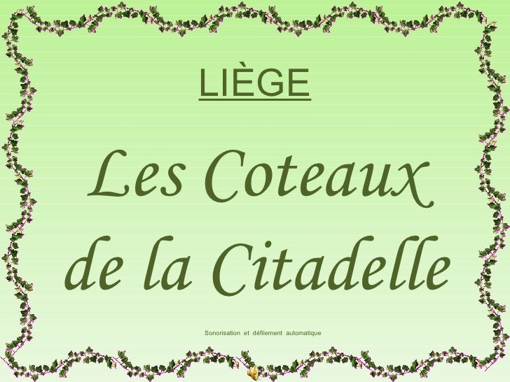 LIÈGE Les Coteauxde la Citadelle     Sonorisation et défilement automatique