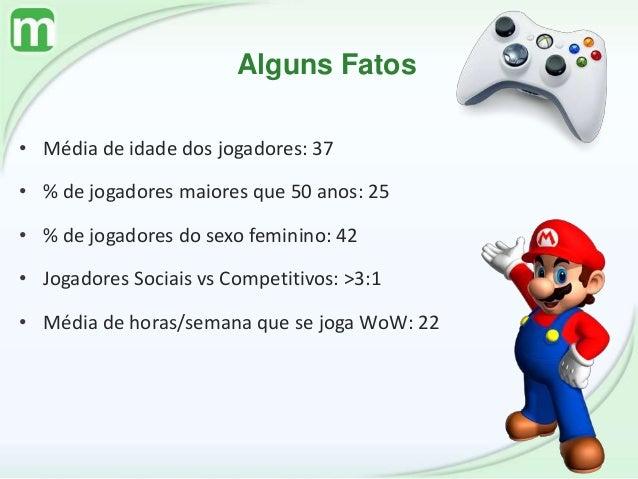 Alguns Fatos • Média de idade dos jogadores: 37 • % de jogadores maiores que 50 anos: 25 • % de jogadores do sexo feminino...