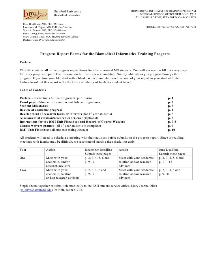 Coterminal MS Student Progress Report Forms Here. Stanford University  BIOMEDICAL INFORMATICS ...  Progress Report Template For Students