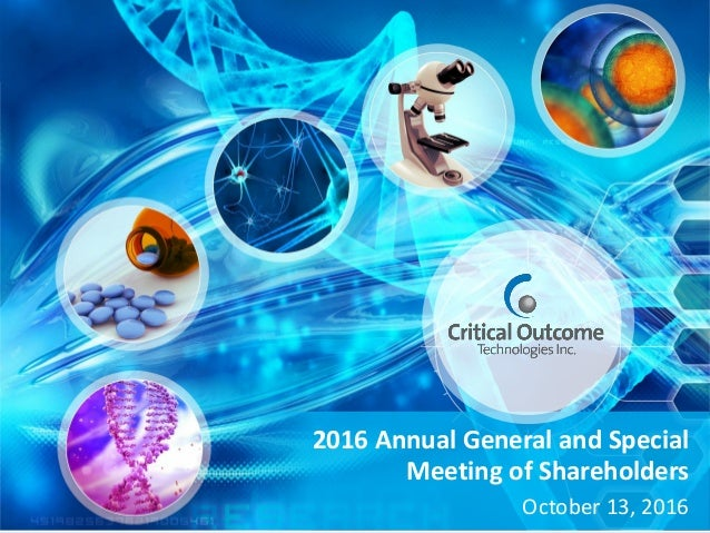 2016 Annual General and Special Meeting of Shareholders October 13, 2016