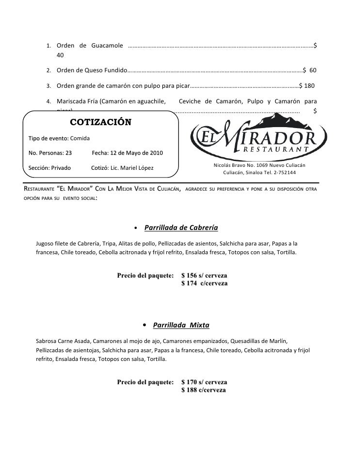 Cotizacion p/ Eventos