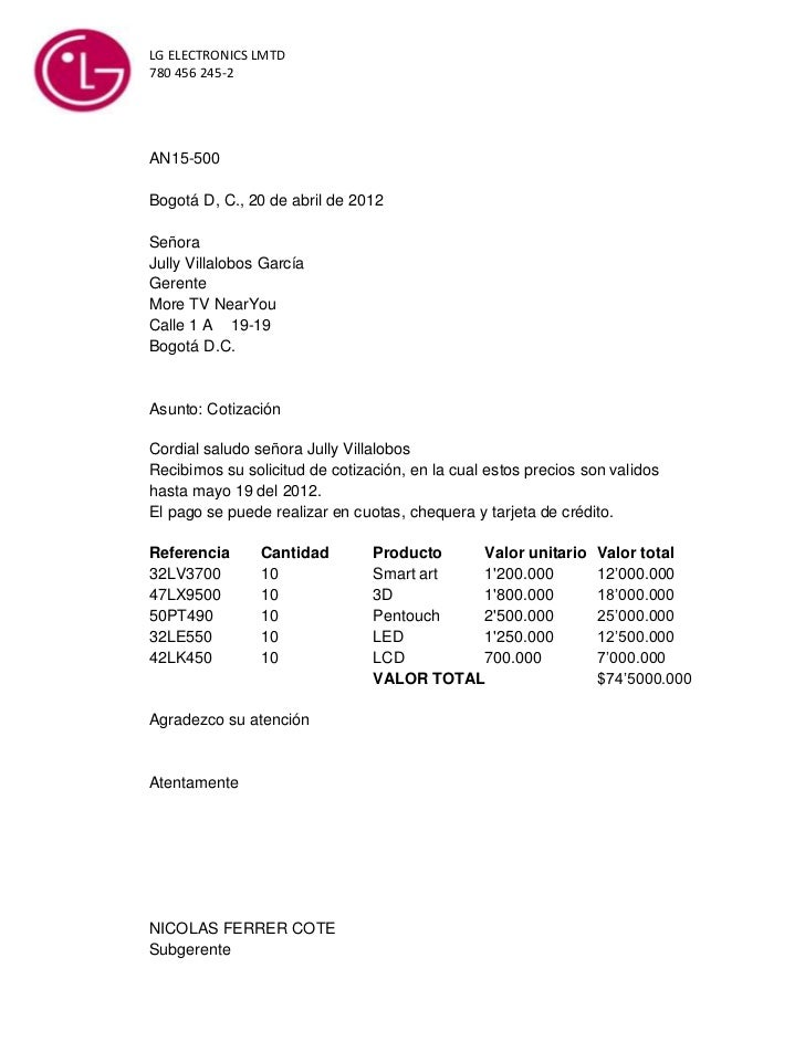 Cotizacion for Solicitud de chequera
