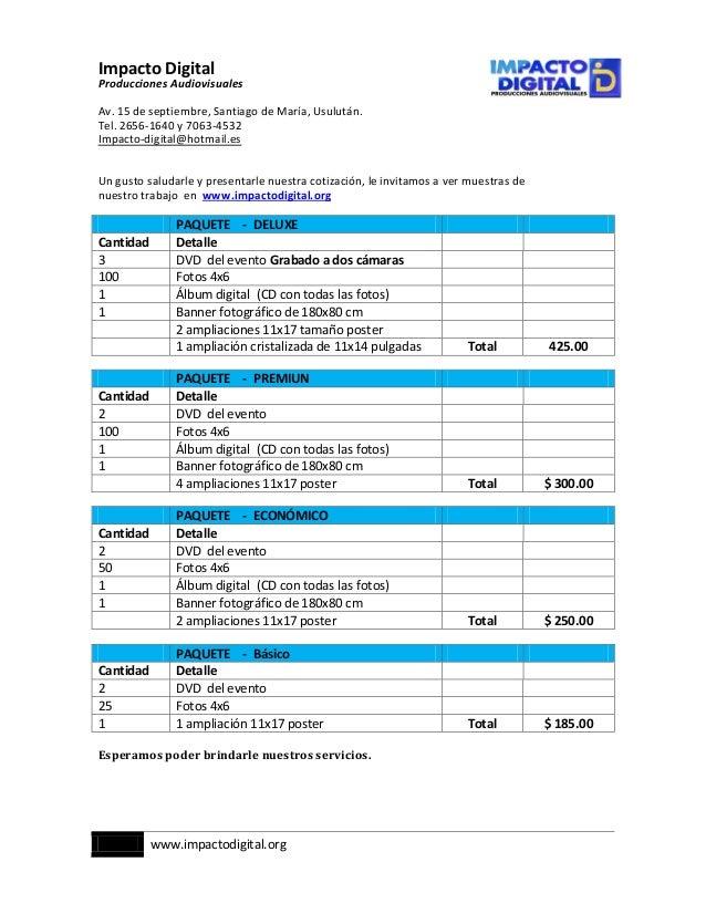 cotizacion impacto digital vigente diciembre 2012