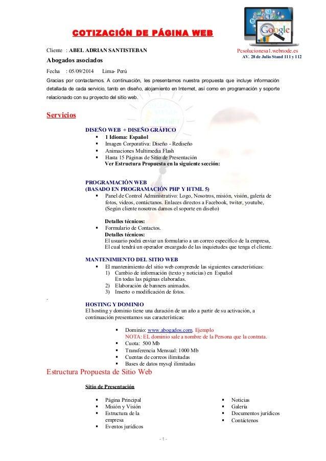 COTIZACIÓN DE PÁGINA WEB  Cliente : ABEL ADRIAN SANTISTEBAN  Abogados asociados  Fecha : 05/09/2014 Lima- Perú  Gracias po...
