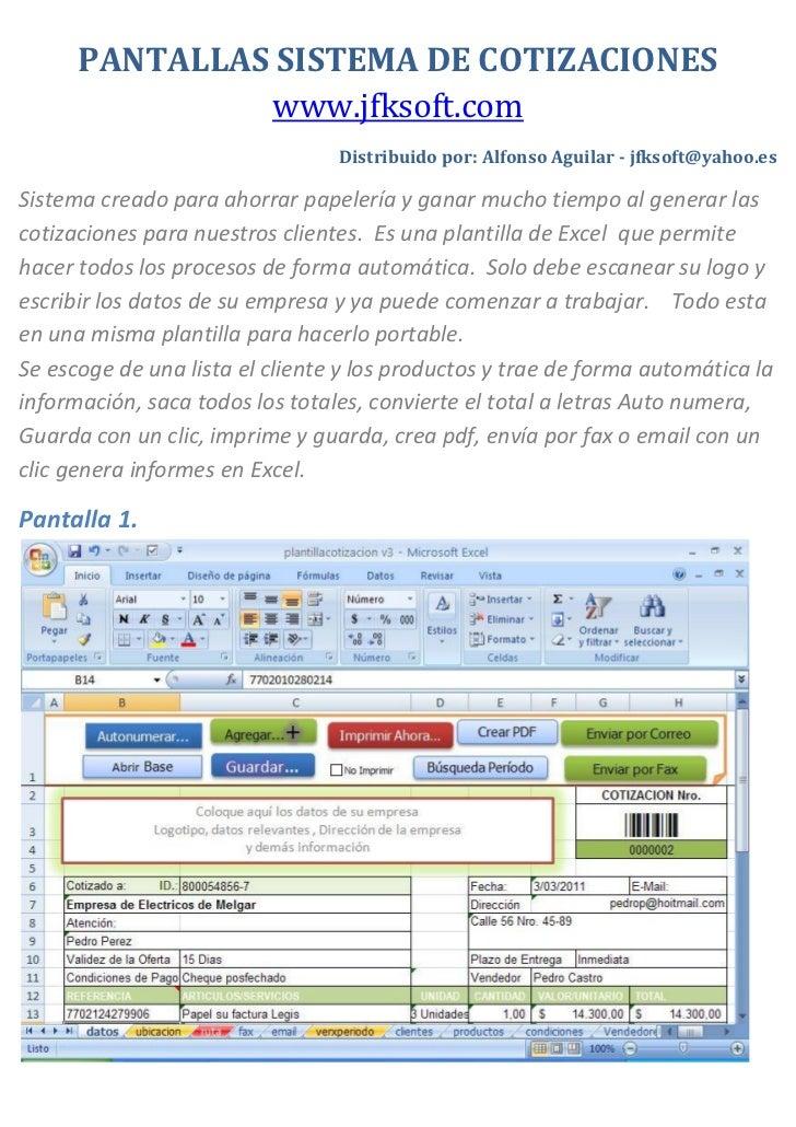 pantallas sistema de cotizaciones wwwjfksoftcom