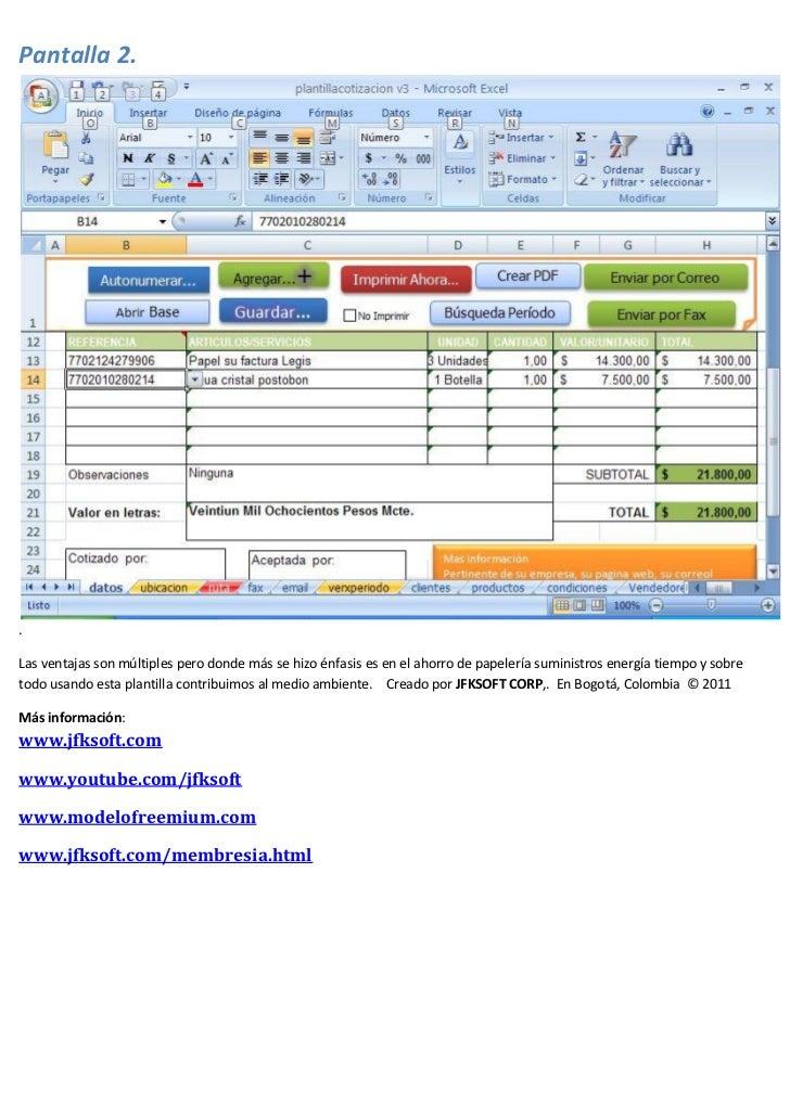 sistema de cotizaciones con excel crea pdf correo fax