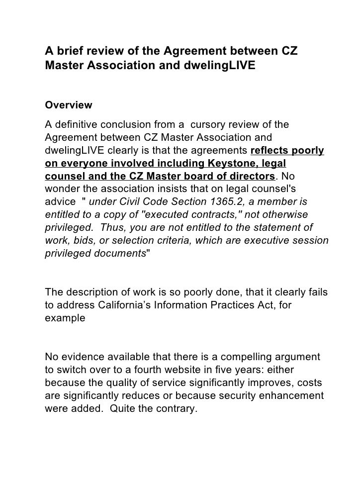 A brief review of the Agreement between CZ Master Association and dwelingLIVE  Overview Adefinitiveconclusionfromac...
