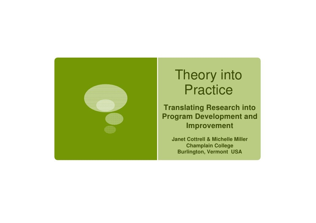 Theory into    PracticeTranslating Research intoProgram Development and      Improvement  Janet Cottrell & Michelle Miller...