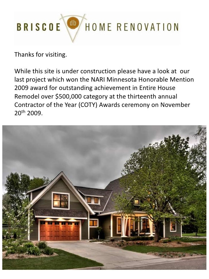 Thanks for visiting.<br />While this site is under construction please have a look at  our last project which won the NARI...