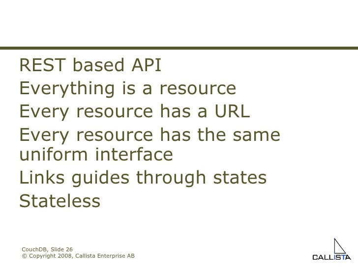 CouchDB, Slide  © Copyright 2008, Callista Enterprise AB REST based API Everything is a resource Every resource has a URL ...
