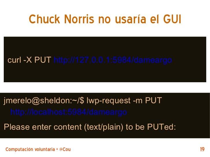 Chuck Norris no usaría el GUI curl -X PUT http://127.0.0.1:5984/dameargojmerelo@sheldon:~/$ lwp-request -m PUT  http://loc...