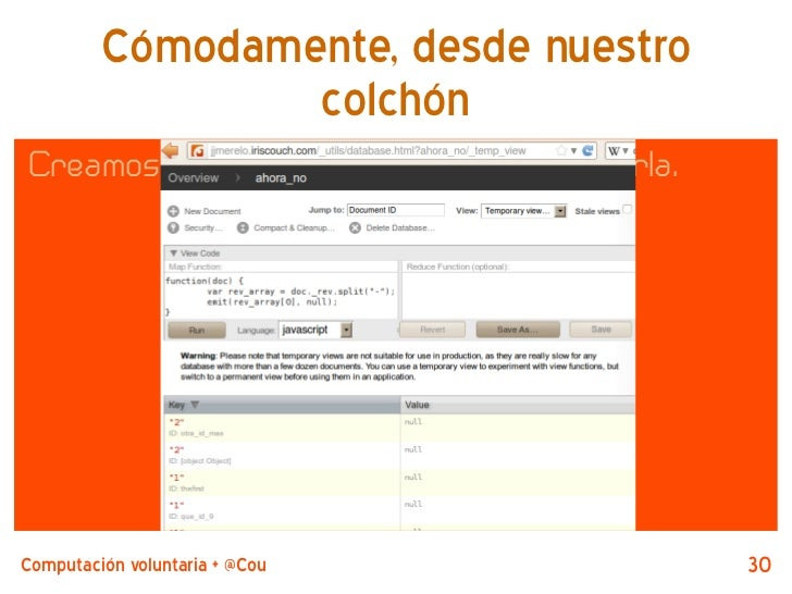 Cómodamente, desde nuestro                 colchónCreamos una vista temporal para evaluarla.Computación voluntaria + @Couc...
