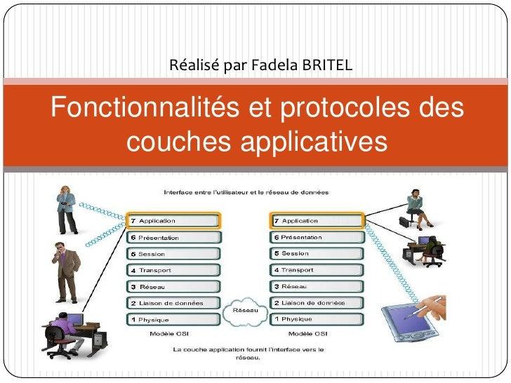 Réalisé par Fadela BRITEL  Fonctionnalités et protocoles des       couches applicatives