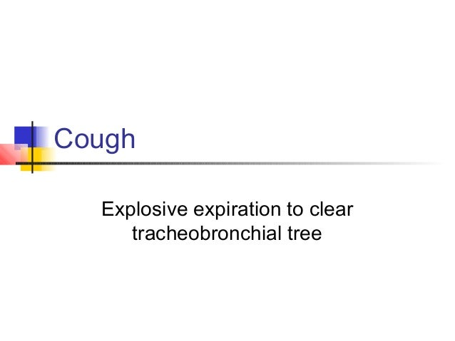Cough Explosive expiration to clear tracheobronchial tree