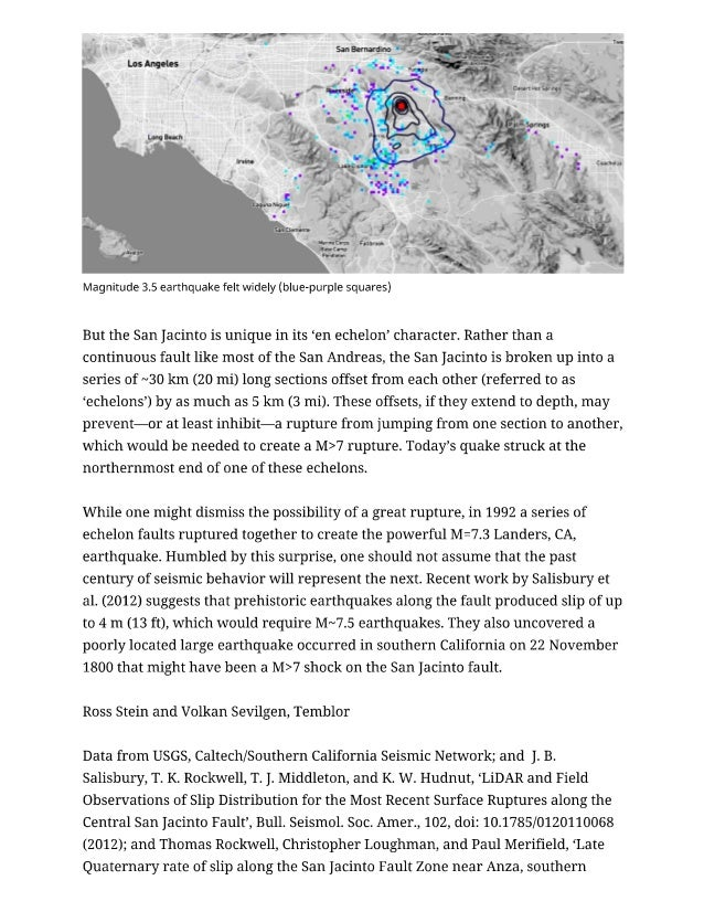 Could a great quake strike on the enigmatic san jacinto fault temb…