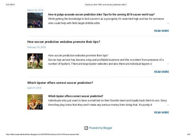 Could you find 100% sure soccer prediction sites