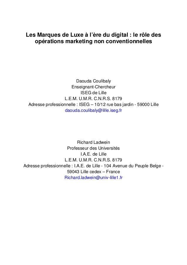 Les Marques de Luxe à l'ère du digital : le rôle des    opérations marketing non conventionnelles                         ...