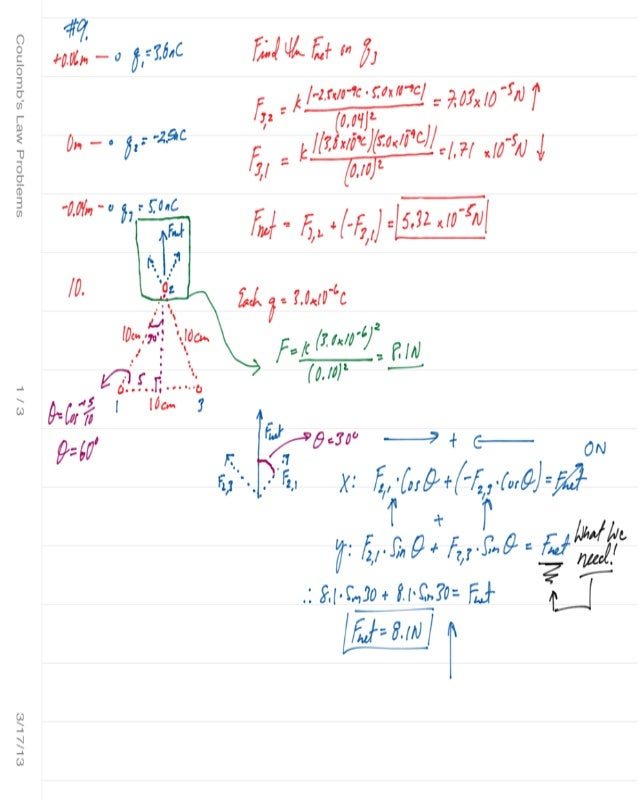 Coulomb's law problems