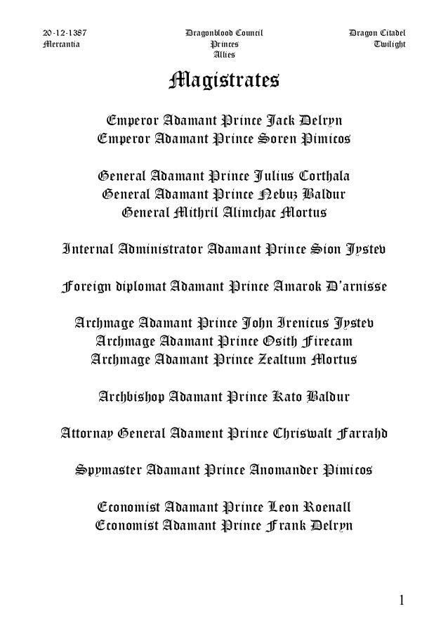 20-12-1387                Dragonblood Council     Dragon CitadelMercantia                      Princes                 Twi...