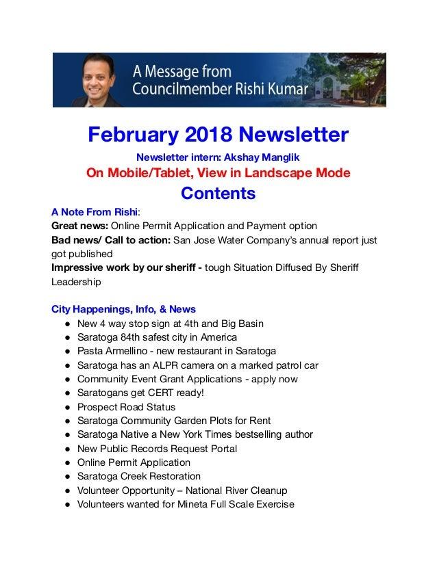 councilmember rishi kumar february 2018 newsletter