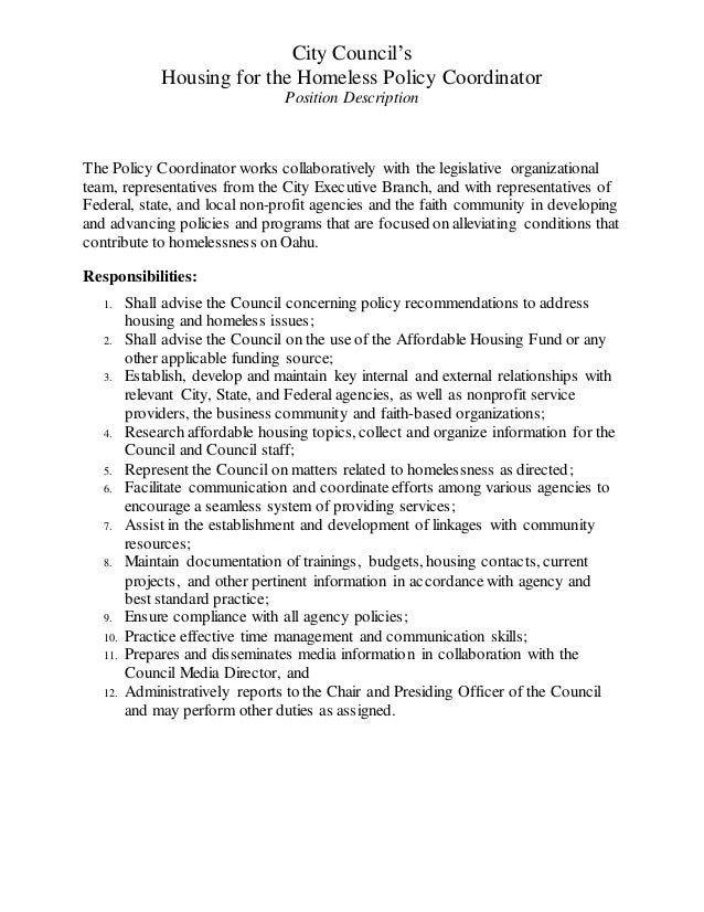 Job Description For Honolulu City Council Housing Coordinator