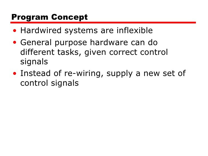 Program Concept <ul><li>Hardwired systems are inflexible </li></ul><ul><li>General purpose hardware can do different tasks...