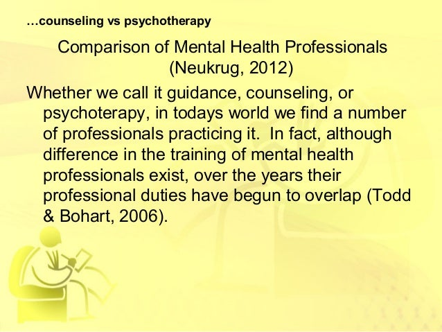 a comparison of counseling and psychotherapy Psychologists generally draw on one or more theories of psychotherapy a theory of psychotherapy acts as a roadmap for psychologists: it guides them through the.