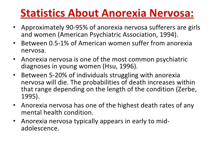 several possible reasons for the increasing cases of anorexia nervosa What causes eating disorders download pdf copy by sally robertson, bsc eating disorders, such as anorexia nervosa, bulimia and binge eating, are characterised by.
