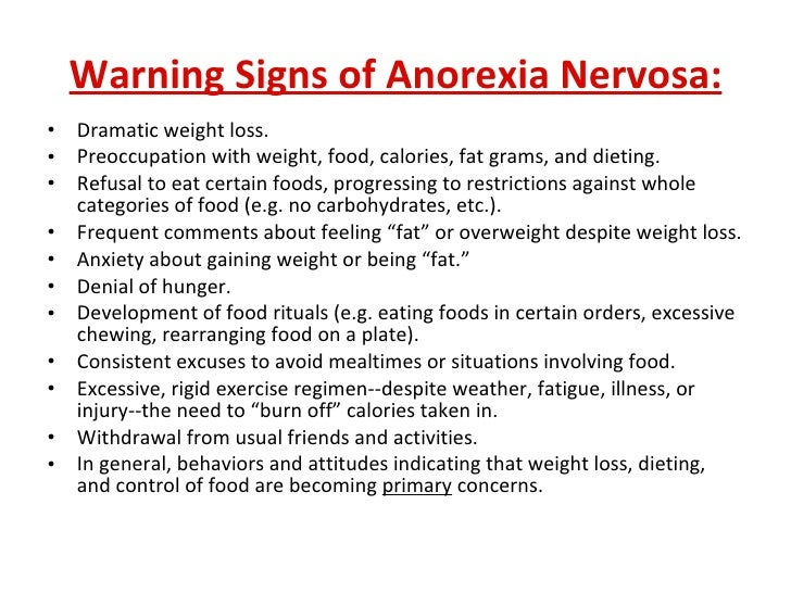 the clinical description of anorexia nervosa Examples of eating disorders include anorexia nervosa, bulimia nervosa a listing of clinical trials on eating disorders at the national institutes of health and.