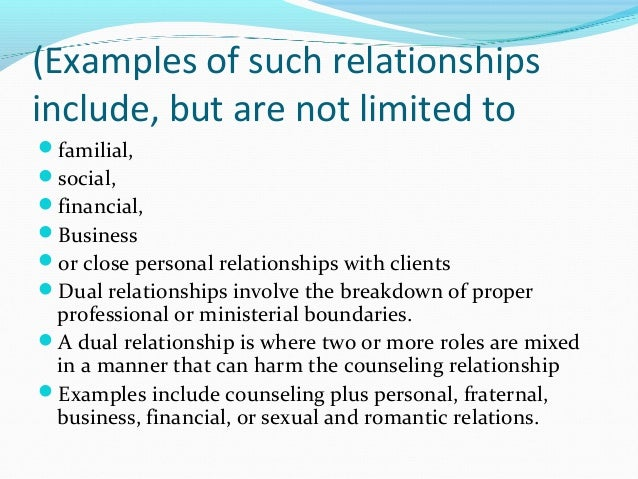 financial boundaries of a professional relationship