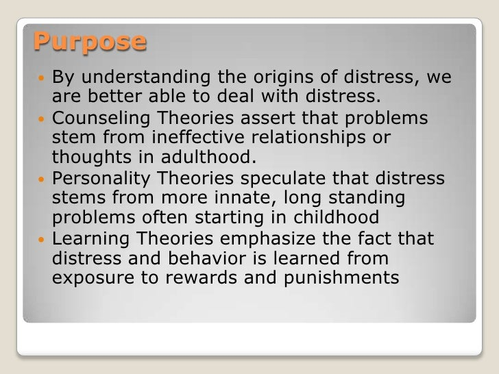 counselling theories assignment 3 Discuss your understanding of the theory of and practice of person-centred psychotherapy and counselling skip  as many of the theories he  3.