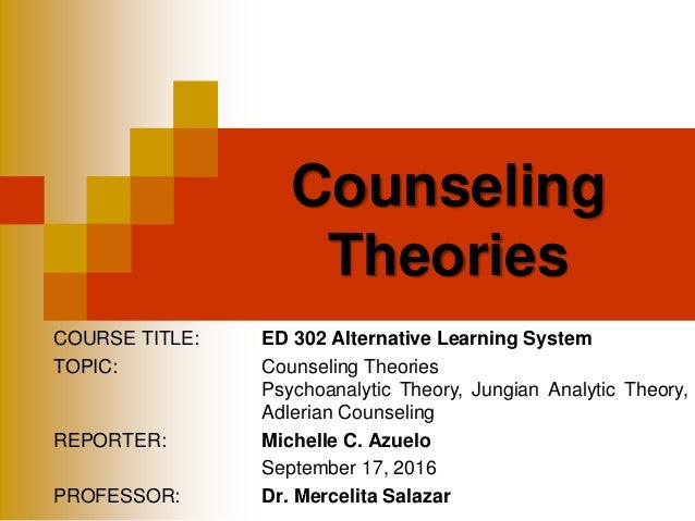 COURSE TITLE: ED 302 Alternative Learning System TOPIC: Counseling Theories Psychoanalytic Theory, Jungian Analytic Theory...