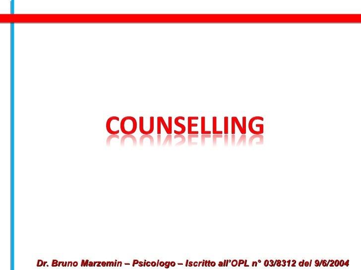 Dr. Bruno Marzemin – Psicologo – Iscritto all'OPL n° 03/8312 del 9/6/2004