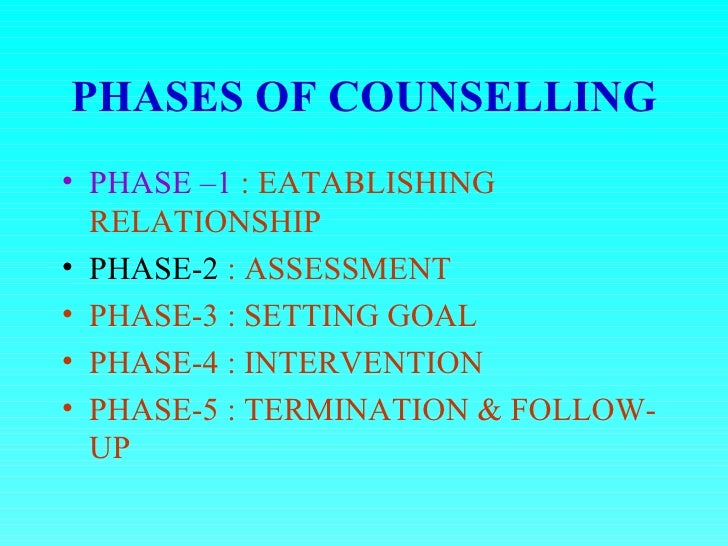 developing and terminating a counselling relationship follow up